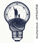 father and son in lightbulb ... | Shutterstock .eps vector #699563908