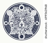medieval lion tattoo and t... | Shutterstock .eps vector #699563968