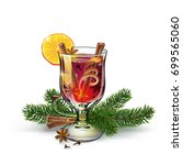 mulled wine with christmas... | Shutterstock .eps vector #699565060