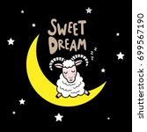 cute sheep is sleeping on the...   Shutterstock .eps vector #699567190
