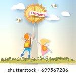back to school 1 september card ... | Shutterstock .eps vector #699567286