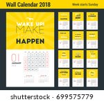wall calendar template for 2018 ... | Shutterstock .eps vector #699575779