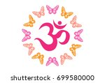 pink om with butterflies icon...   Shutterstock .eps vector #699580000