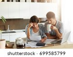 female and male sitting... | Shutterstock . vector #699585799