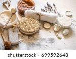 beautiful spa composition... | Shutterstock . vector #699592648