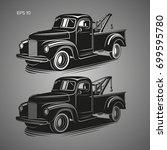 vintage tow truck vector... | Shutterstock .eps vector #699595780
