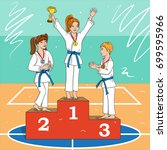 young fighters on the podium | Shutterstock .eps vector #699595966