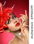 beautiful girl withs a flowers... | Shutterstock . vector #69960199