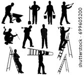 silhouettes of builder in... | Shutterstock .eps vector #699605200