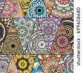 seamless mandalas pattern.... | Shutterstock .eps vector #699608680