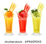 set of fruit juice with splash... | Shutterstock .eps vector #699609043