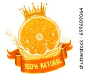natural orange juice label... | Shutterstock .eps vector #699609064