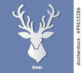 paper deer head icon with... | Shutterstock . vector #699615286