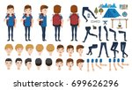man backpack travel adolescence ... | Shutterstock .eps vector #699626296