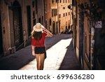 tourist girl  traveling ... | Shutterstock . vector #699636280