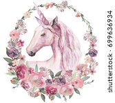 Stock photo watercolor animal floral boho illustration unicorn with pastel flower wreath for wedding 699636934