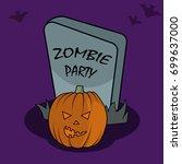 halloween poster in cartoon... | Shutterstock .eps vector #699637000