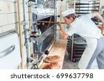 baker woman getting bread out... | Shutterstock . vector #699637798