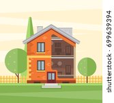 cutaway house with visible... | Shutterstock .eps vector #699639394