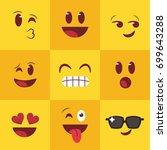nine emojis squared face | Shutterstock .eps vector #699643288
