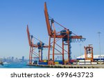 shore crane loading containers... | Shutterstock . vector #699643723