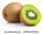 ripe whole kiwi fruit and half... | Shutterstock . vector #699645964