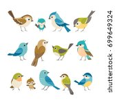 Stock vector set of cute little colorful birds isolated on white background 699649324
