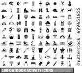 100 outdoor activity icons set... | Shutterstock .eps vector #699651823