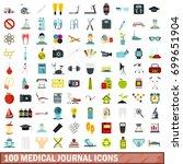 100 medical journal icons set... | Shutterstock .eps vector #699651904