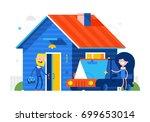 happy family standing against... | Shutterstock .eps vector #699653014