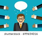 happy businessman and the hands ...   Shutterstock .eps vector #699654016