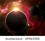 fantasy space planets - stock photo