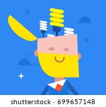 happy businessman with a light... | Shutterstock .eps vector #699657148