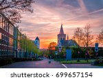 beautiful sunset in ede ... | Shutterstock . vector #699657154