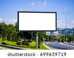 blank white billboard against... | Shutterstock . vector #699659719