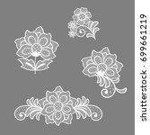 lace flowers decoration element | Shutterstock .eps vector #699661219