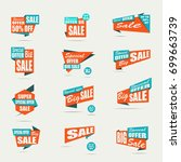 set of sale banners. orange... | Shutterstock .eps vector #699663739