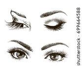 hand drawn women's eyes vintage.... | Shutterstock .eps vector #699664588