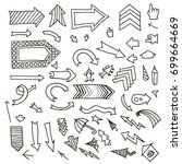 vector set of hand drawn arrows | Shutterstock .eps vector #699664669