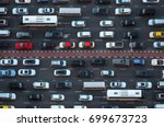 Top view of numerous cars in a traffic jam in Dubai, United Arab Emirates