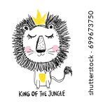 king of the jungle  lion  ... | Shutterstock .eps vector #699673750