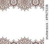 seamless henna borders vector...   Shutterstock .eps vector #699675238