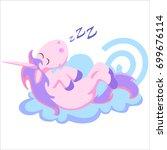 cute unicorn isolated set ... | Shutterstock .eps vector #699676114