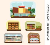 shop building cartoon set with... | Shutterstock .eps vector #699676120