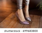 beautiful high heeled glitter... | Shutterstock . vector #699683800