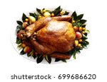 Cooked   plated turkey with...