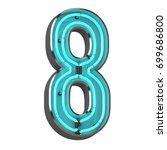 3d neon number eight | Shutterstock . vector #699686800