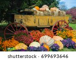 Fall Harvest In A Wooden Wagon