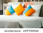 pillow on bed decoration... | Shutterstock . vector #699700960