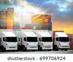 trucks lorries loading... | Shutterstock . vector #699706924